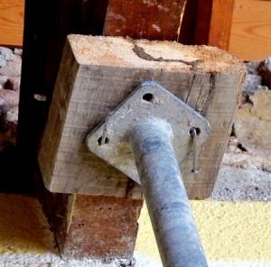 Canal de termitas en la cuña de los puntales